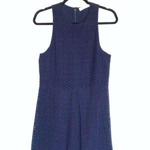 CHLOE fit and flare CROCHET tea DRESS navy size 4